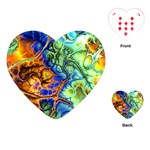 Abstract Fractal Batik Art Green Blue Brown Playing Cards (Heart)