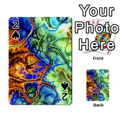 Abstract Fractal Batik Art Green Blue Brown Playing Cards 54 Designs  by EDDArt