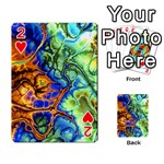 Abstract Fractal Batik Art Green Blue Brown Playing Cards 54 Designs  Front - Heart2