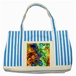 Abstract Fractal Batik Art Green Blue Brown Striped Blue Tote Bag