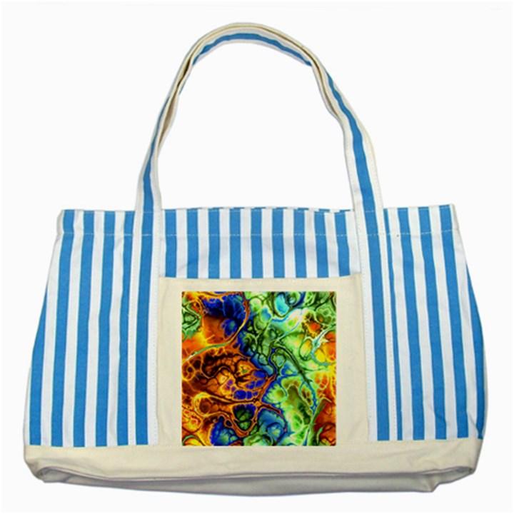 Abstract Fractal Batik Art Green Blue Brown Striped Blue Tote Bag