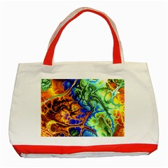 Abstract Fractal Batik Art Green Blue Brown Classic Tote Bag (red)