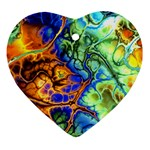 Abstract Fractal Batik Art Green Blue Brown Heart Ornament (2 Sides) Back