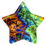 Abstract Fractal Batik Art Green Blue Brown Star Ornament (Two Sides)