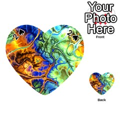 Abstract Fractal Batik Art Green Blue Brown Playing Cards 54 (heart)
