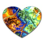 Abstract Fractal Batik Art Green Blue Brown Heart Mousepads