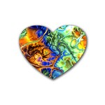 Abstract Fractal Batik Art Green Blue Brown Heart Coaster (4 pack)