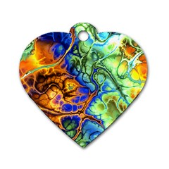 Abstract Fractal Batik Art Green Blue Brown Dog Tag Heart (two Sides) by EDDArt