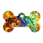 Abstract Fractal Batik Art Green Blue Brown Dog Tag Bone (Two Sides)
