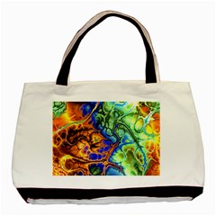 Abstract Fractal Batik Art Green Blue Brown Basic Tote Bag (two Sides) by EDDArt
