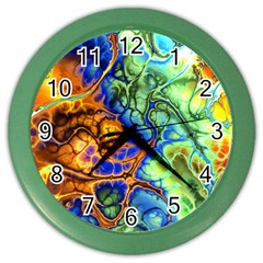 Abstract Fractal Batik Art Green Blue Brown Color Wall Clocks by EDDArt