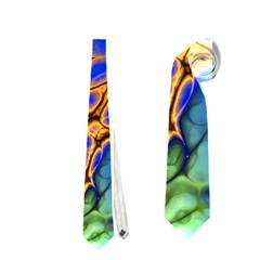 Abstract Fractal Batik Art Green Blue Brown Neckties (one Side)  by EDDArt