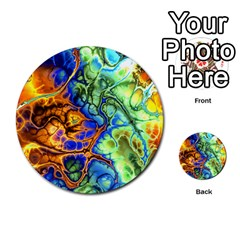 Abstract Fractal Batik Art Green Blue Brown Multi Purpose Cards (round)