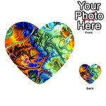 Abstract Fractal Batik Art Green Blue Brown Multi-purpose Cards (Heart)  Back 1