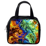 Abstract Fractal Batik Art Green Blue Brown Classic Handbags (One Side)
