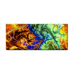 Abstract Fractal Batik Art Green Blue Brown Hand Towel