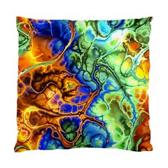 Abstract Fractal Batik Art Green Blue Brown Standard Cushion Case (two Sides) by EDDArt