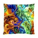 Abstract Fractal Batik Art Green Blue Brown Standard Cushion Case (Two Sides) Back