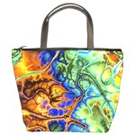 Abstract Fractal Batik Art Green Blue Brown Bucket Bags