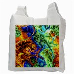 Abstract Fractal Batik Art Green Blue Brown Recycle Bag (Two Side)  Back