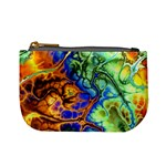 Abstract Fractal Batik Art Green Blue Brown Mini Coin Purses Front