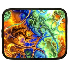 Abstract Fractal Batik Art Green Blue Brown Netbook Case (xl)