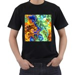 Abstract Fractal Batik Art Green Blue Brown Men s T-Shirt (Black)