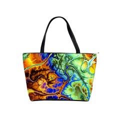 Abstract Fractal Batik Art Green Blue Brown Shoulder Handbags