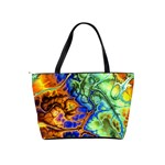 Abstract Fractal Batik Art Green Blue Brown Shoulder Handbags Back