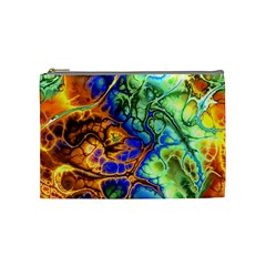 Abstract Fractal Batik Art Green Blue Brown Cosmetic Bag (medium)  by EDDArt