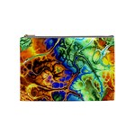 Abstract Fractal Batik Art Green Blue Brown Cosmetic Bag (Medium)