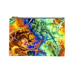 Abstract Fractal Batik Art Green Blue Brown Cosmetic Bag (Large)