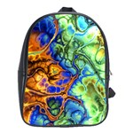 Abstract Fractal Batik Art Green Blue Brown School Bags(Large)