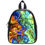 Abstract Fractal Batik Art Green Blue Brown School Bags (Small)
