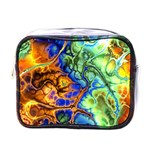 Abstract Fractal Batik Art Green Blue Brown Mini Toiletries Bags