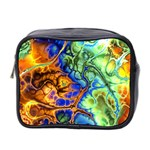 Abstract Fractal Batik Art Green Blue Brown Mini Toiletries Bag 2-Side