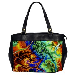 Abstract Fractal Batik Art Green Blue Brown Office Handbags by EDDArt