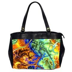 Abstract Fractal Batik Art Green Blue Brown Office Handbags (2 Sides)  by EDDArt