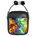 Abstract Fractal Batik Art Green Blue Brown Girls Sling Bags