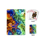 Abstract Fractal Batik Art Green Blue Brown Playing Cards (Mini)
