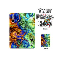 Abstract Fractal Batik Art Green Blue Brown Playing Cards 54 (mini)  by EDDArt