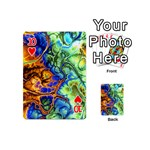 Abstract Fractal Batik Art Green Blue Brown Playing Cards 54 (Mini)  Front - Heart10