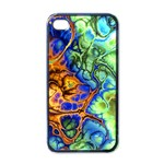Abstract Fractal Batik Art Green Blue Brown Apple iPhone 4 Case (Black)