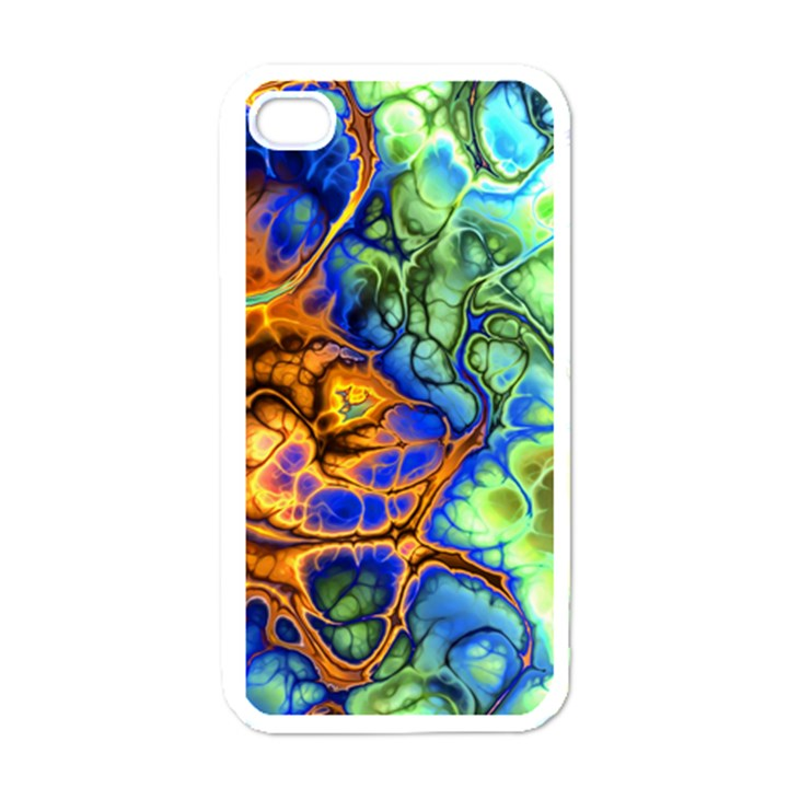Abstract Fractal Batik Art Green Blue Brown Apple iPhone 4 Case (White)