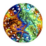 Abstract Fractal Batik Art Green Blue Brown Round Filigree Ornament (2Side)