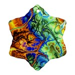 Abstract Fractal Batik Art Green Blue Brown Snowflake Ornament (2-Side)