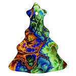 Abstract Fractal Batik Art Green Blue Brown Christmas Tree Ornament (2 Sides)