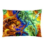 Abstract Fractal Batik Art Green Blue Brown Pillow Case (Two Sides)