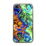Abstract Fractal Batik Art Green Blue Brown Apple iPhone 4 Case (Clear) Front