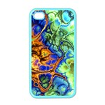 Abstract Fractal Batik Art Green Blue Brown Apple iPhone 4 Case (Color)